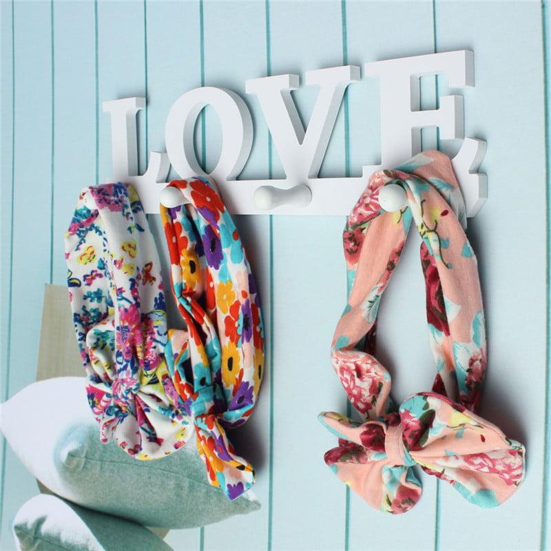 4 Hook LOVE Pattern Wooden Hanger Rack Door Wall Mounted Clothes Bag Key Hat Hanging Holder For Bathroom Bedroom Home Decoration