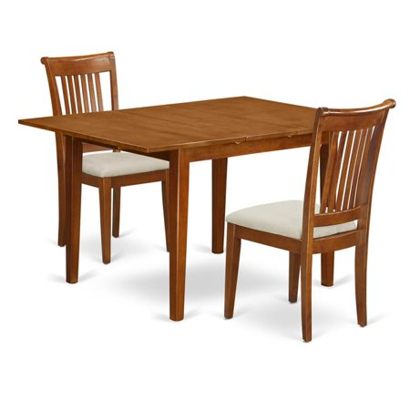 Milan Kitchen Table with Leaf & 2 Cushioned Seat Chairs, Saddle Brown - 3 Piece