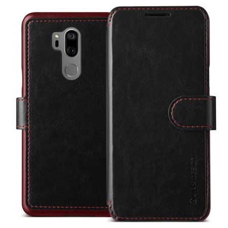 LG G7 ThinQ Case by VRS Design, Layered Dandy Leather Wallet Cover - Black ()