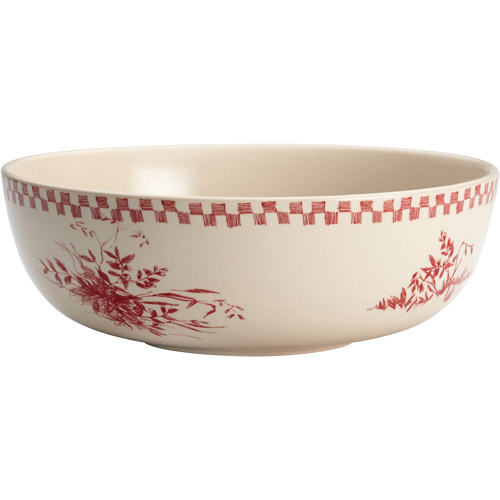 "BonJour Dinnerware Chanticleer Country 9"" StoNeware Round Serving Bowl, Burgundy Red by Meyer Corporation"
