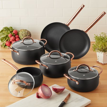 Mainstays 10-Piece Nonstick Cookware Set, Matte Black Rose Gold Handles