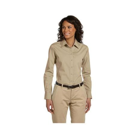 Harriton Ladies Adjustable Cuffs Poplin Dress Shirt, Style M510W