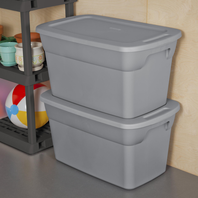 30 Gallon Plastic Tote Containers Garage Storage Moving Box Bin Lids Set Of  6