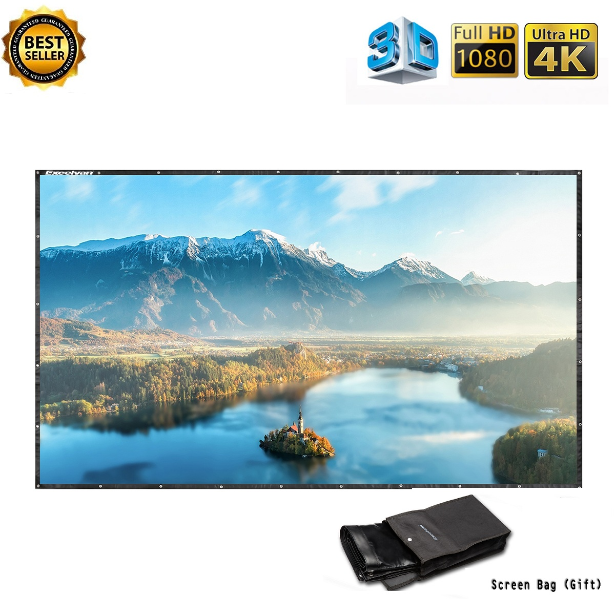Outdoor Home 150 Inch 16:9 Collapsible PVC HD Projector Screen With Hanging Hole