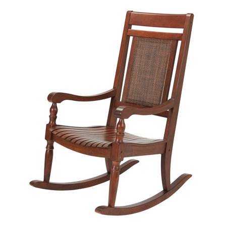 Mainstays Mahogany Rocking Chair with Sling Back, Natural Brown Double High Back Rocker Settee