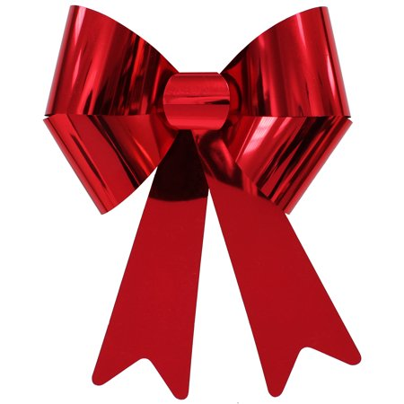 holiday time christmas decor red mylar 20 rigid bow - Christmas Decorations Bows