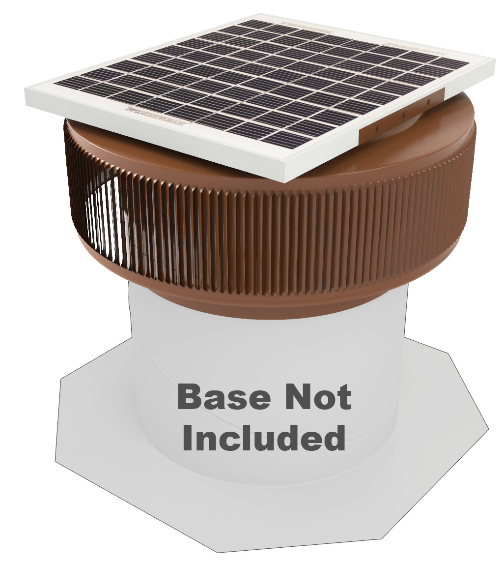 Active Ventilation, Attic Roof Ventilator, Aura Solar Fan, 12 in. diameter, Retro-fit, Aluminum, Powder Coated Brown, ASF-12-RF-BR