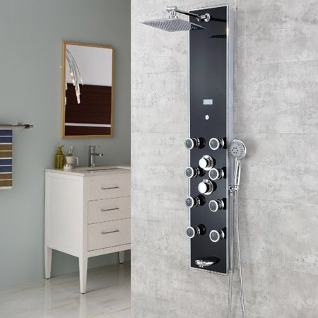 - Luxier Pressure Balanced Rain Multi-Function Shower Tower Panel Massage System with Handheld Includes Rough-In Valve