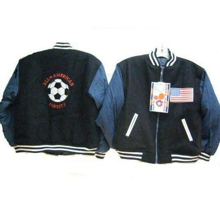 Big Boys Sizes S(8), M(10-12), L(12-16), XL(18-20) Reversible Padded Varsity Jacket