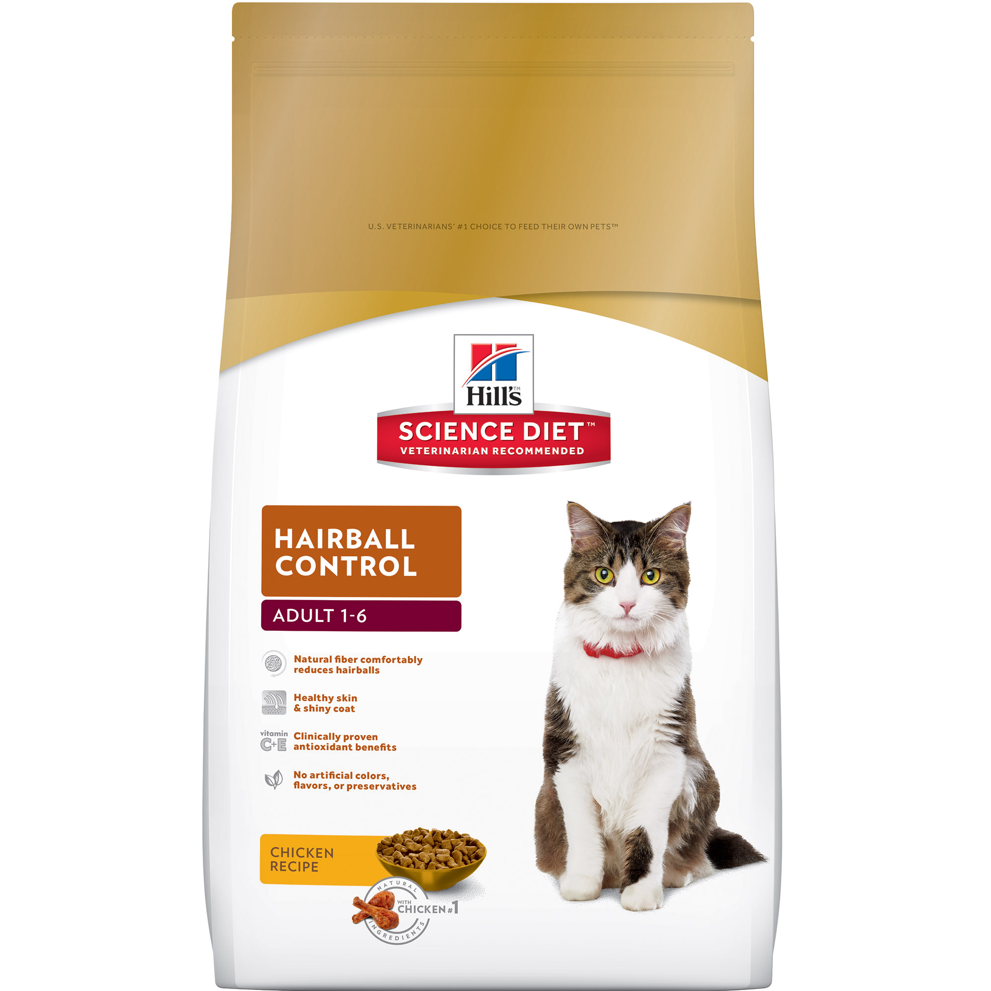 Hill's Science Diet (Spend $20,Get $5) Adult Hairball Control Chicken Recipe Dry Cat Food