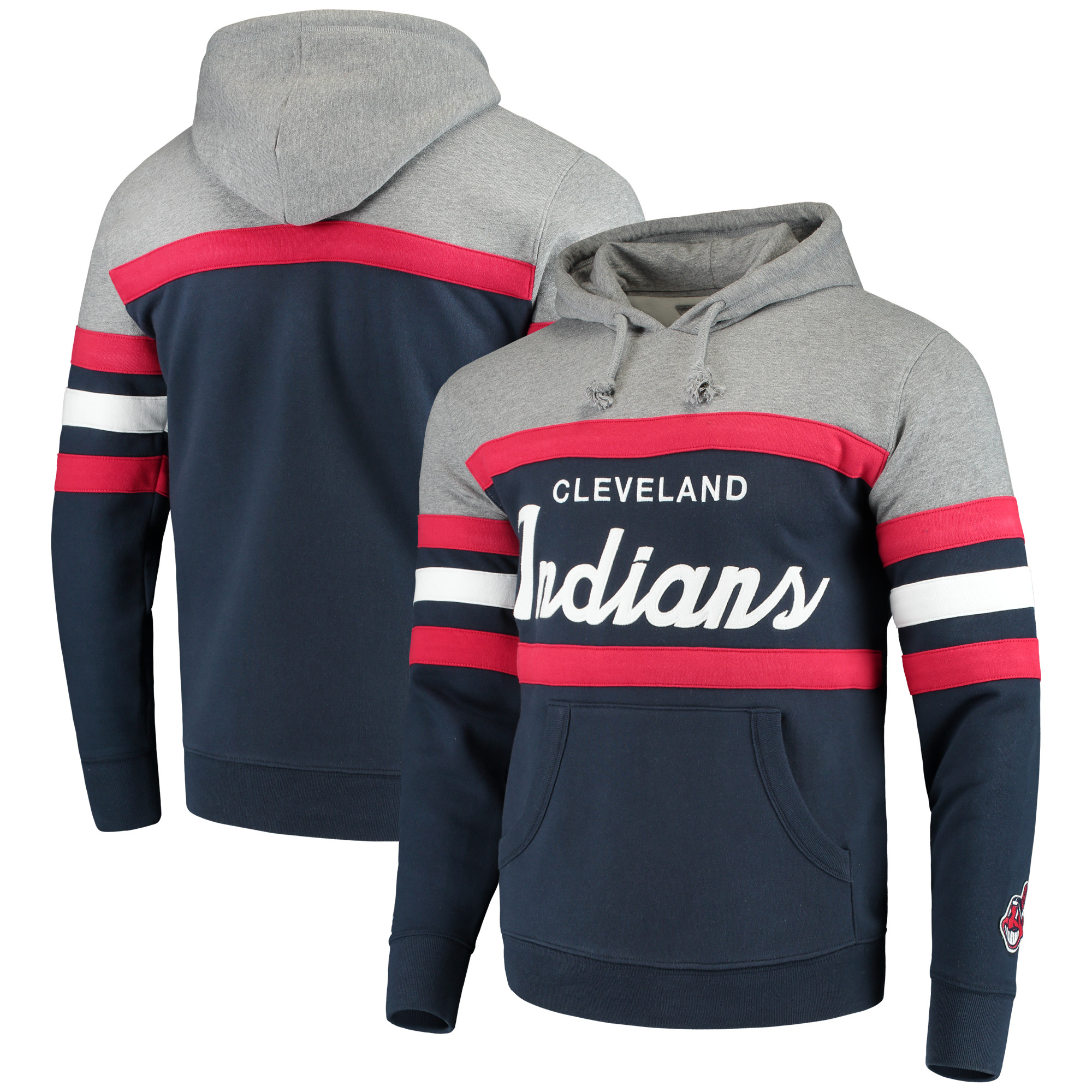 Cleveland Indians Mitchell & Ness Head Coach Hoodie - Navy