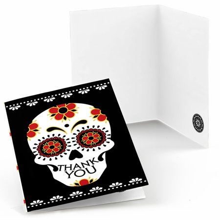 Day Of The Dead - Halloween Sugar Skull Party Thank You Cards (8 count) - Halloween Cards For Grandchildren