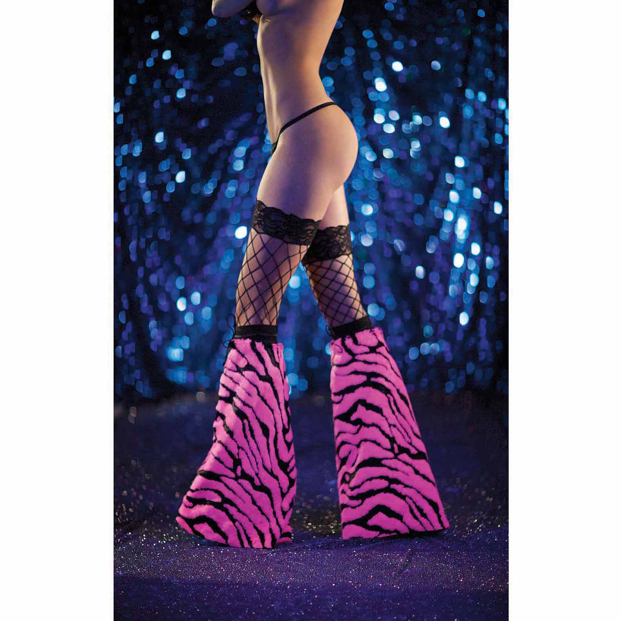 Pink and Black Fuzzy Glow-In-The-Dark Boot Covers with Elastic Drawstring Halloween Accessory