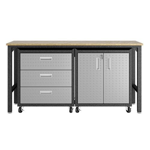 Manhattan Comfort 3-Piece Fortress Mobile Space-Saving Steel 3.0 Garage Cabinet