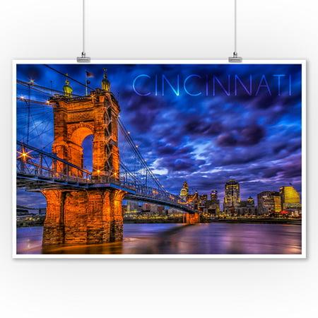 Cincinnati, Ohio - John A. Roebling Suspension Bridge at Night - Lantern Press Photography (9x12 Art Print, Wall Decor Travel Poster) ()