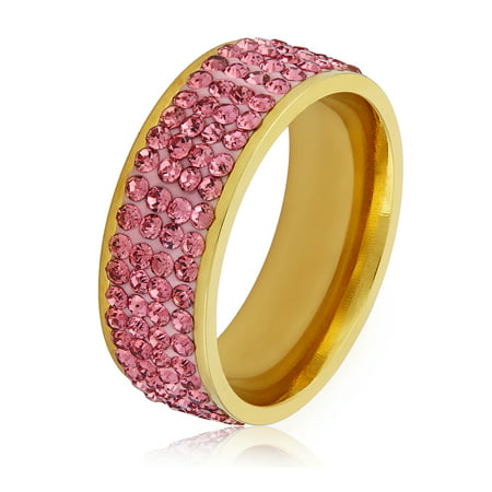 Pink Crystal Stones Gold Plated Stainless Steel Ring (8mm)