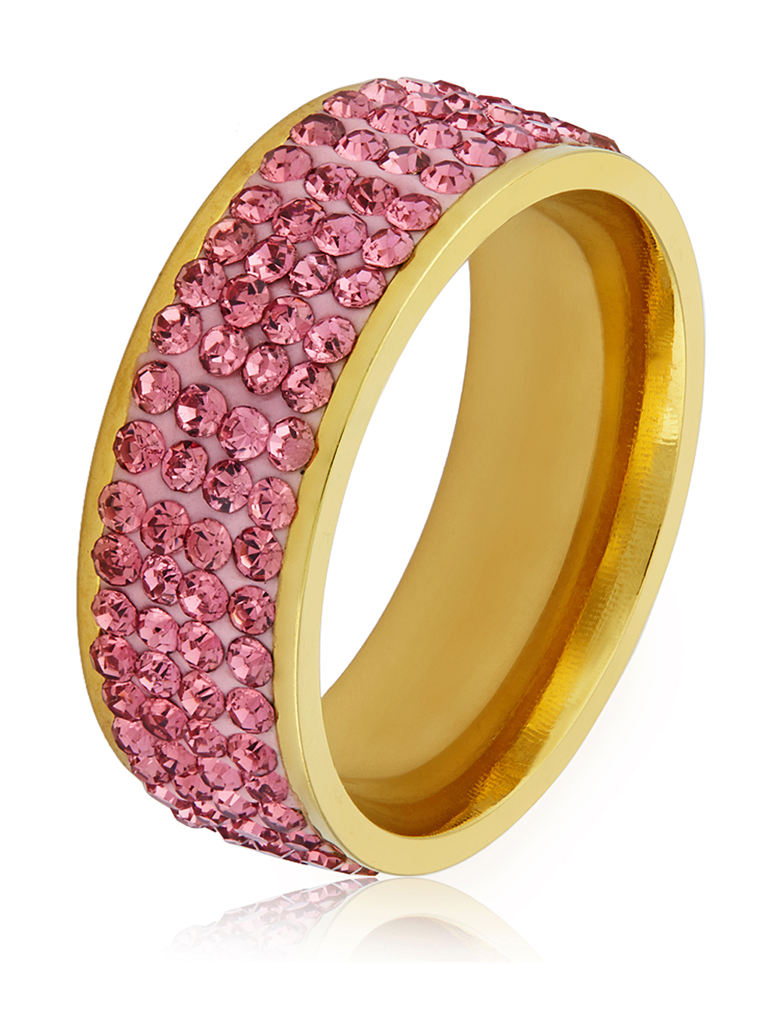 Women's Polished Pink Crystal Stones Gold Plated Stainless Steel Ring (8mm)