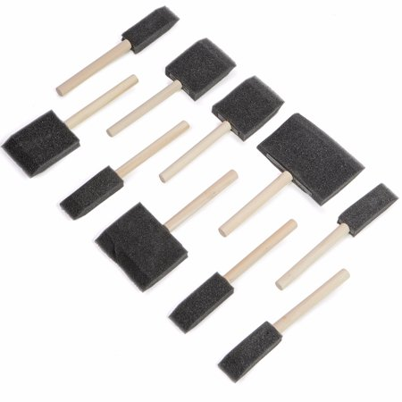 XtremepowerUS 10PC Poly Foam Brushes With Wooden Handles For Any Paint Job, Oil Stain, Watercolor, Art & Craft Project