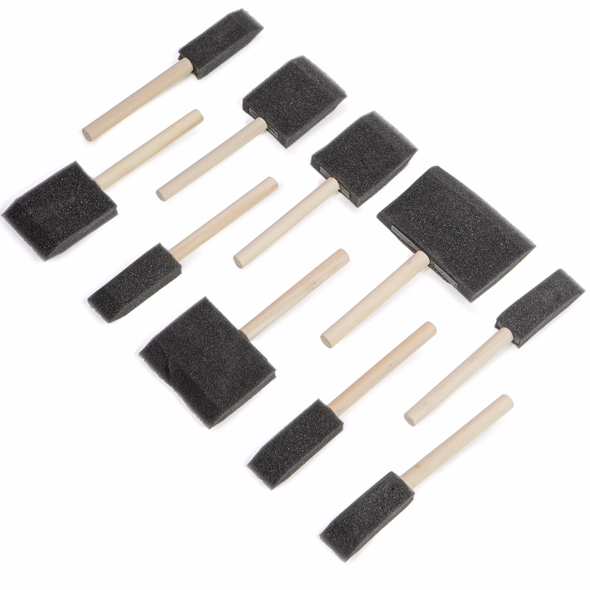 Foam Paint Interior & Exterior Touch Up Brush Set with Wood Handle , 10PC