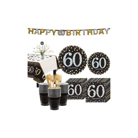 60th Birthday Party Plates (Sparkling Celebration 60th Birthday Party Kit for 32 Guests, 268)
