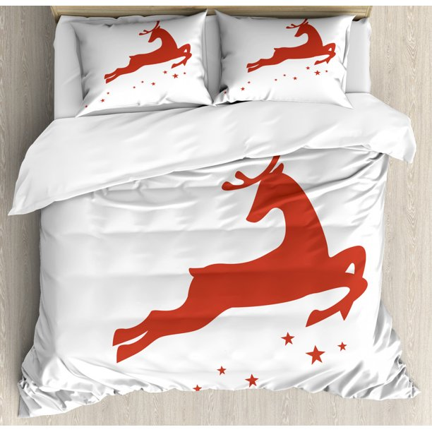 Red Duvet Cover Set Jumping Reindeer