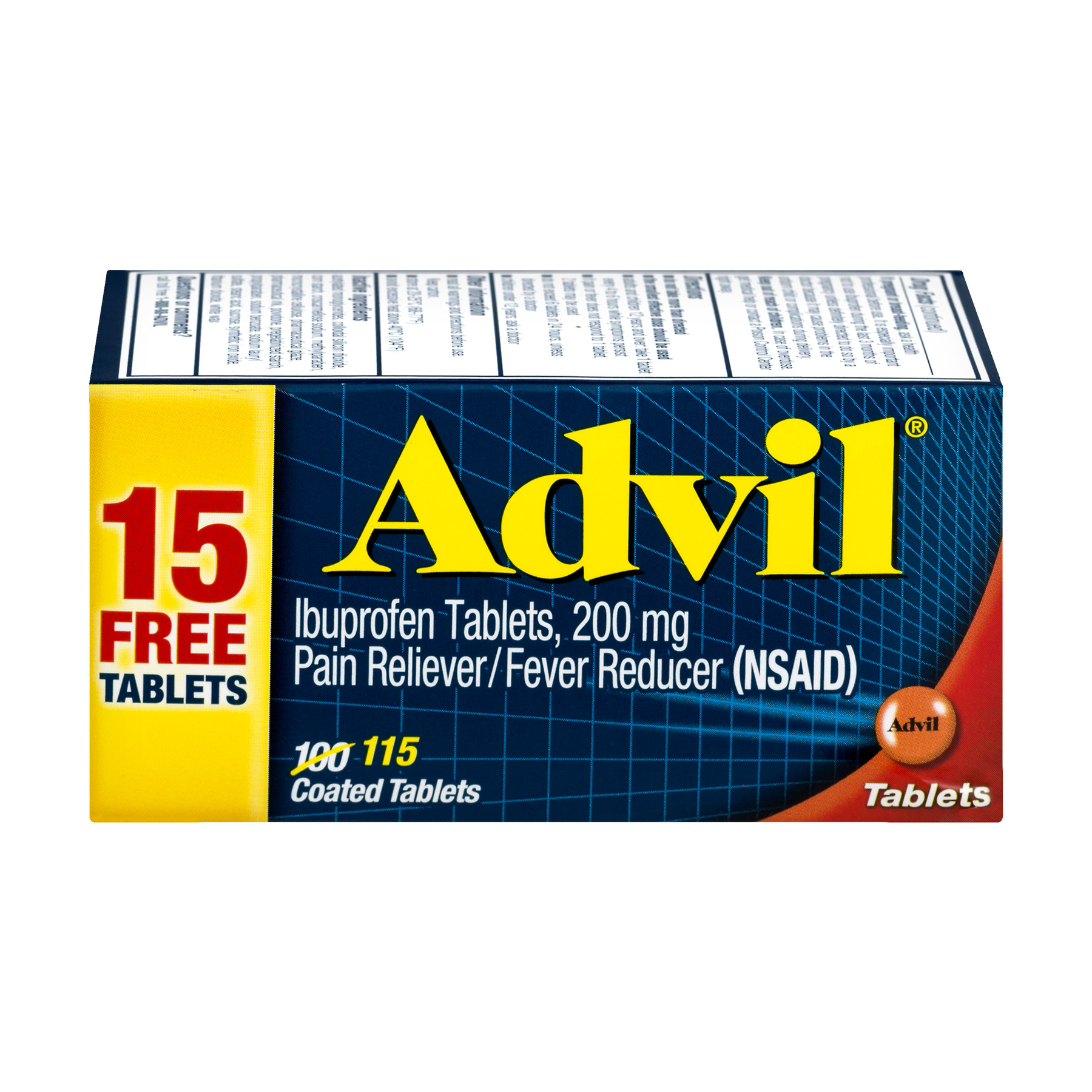 Image of Advil (115 Count) Pain Reliever / Fever Reducer Coated Tablet, 200mg Ibuprofen, Temporary Pain Relief