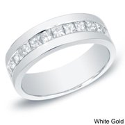Auriya Men's 14k Gold 1 1/2ct TDW Channel-Set Princess-Cut Diamond Wedding Band by