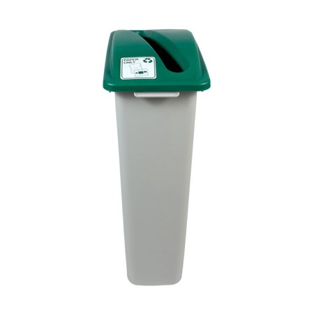 Busch Systems Waste Watcher Recycling Bin - Single Stream 23 G - Slot - Grey | Green - Paper Only Indoor Container - image 1 de 2
