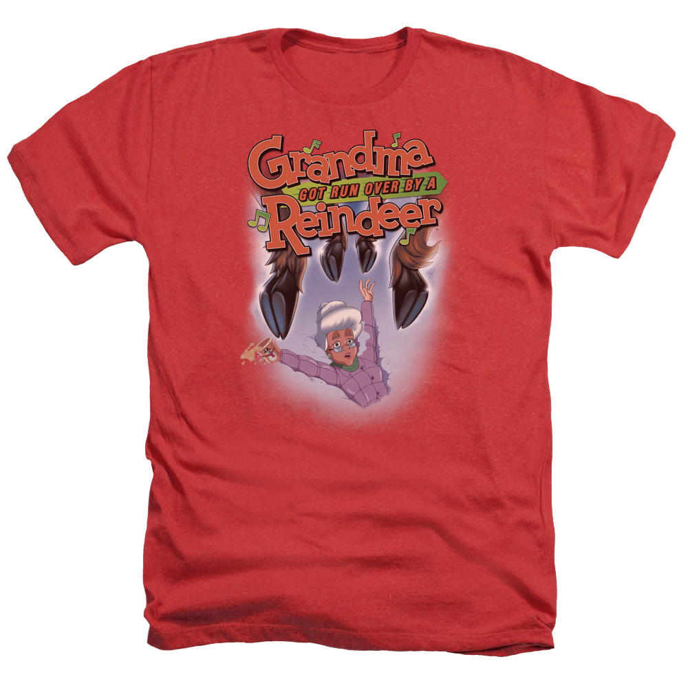 Grandma Got Run Over By A Reindeer Hooves Mens Heather Shirt