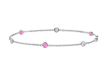 Pink Sapphire with Diamond Bracelet in 14K White Gold Total Weight 0.75 Carat by Love Bright