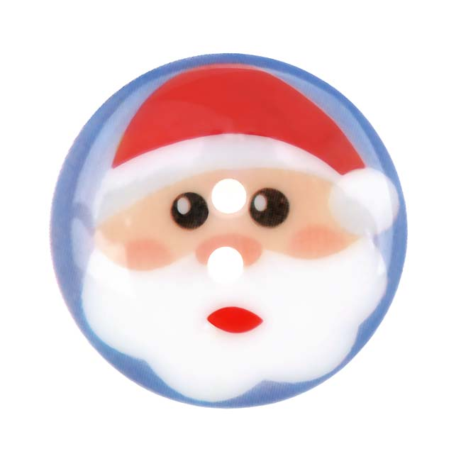 Plastic Christmas Themed Button Santa Claus 1 1/8 Inch (1)