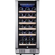 Wine Refrigerator - STAIGIS 15 Inch Wine Cooler with Stainless steel Frame Glass Front Door - 30 Bottles Wine And Drink Mini Fridge for Built In & Freestanding at Home, Office, Kitchen And Bar