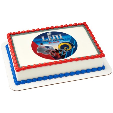 NFL Super Bowl Rams Patriots 1/4 Sheet Image Cake Topper Edible Super Bowl Party