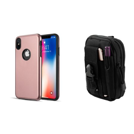 huge selection of c9027 85ef8 Dual Armor Hybrid Protective Cover Case (Rose Pink) with Tactical EDC MOLLE  Belt Bag Pouch and Atom Cloth for Apple iPhone XS Max