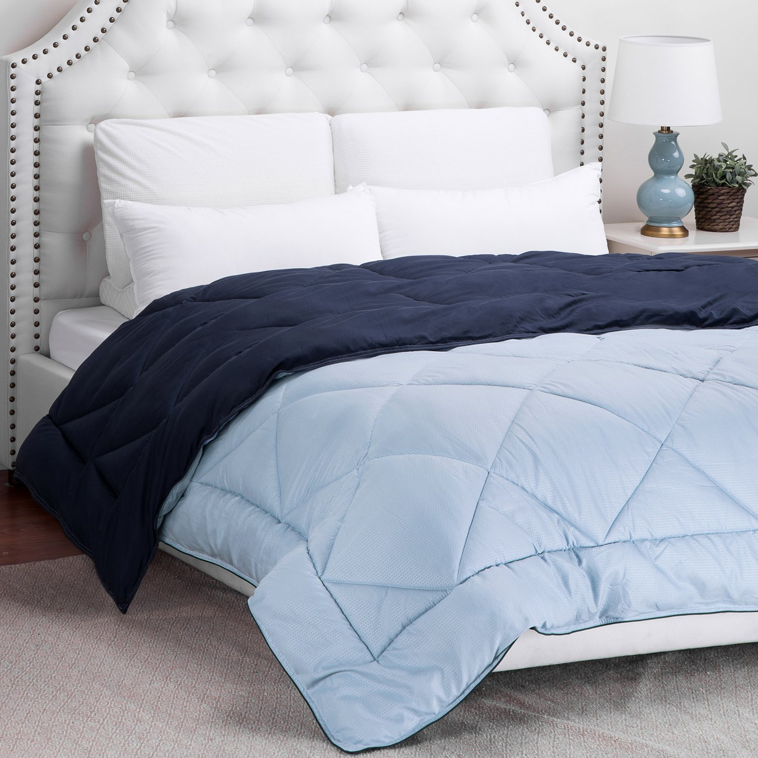 "Twin Reversible Comforter Duvet Insert with Corner Ties Quilted Down Alternative Comforter Diamond Stitching Navy/Light Blue 68""x88"""