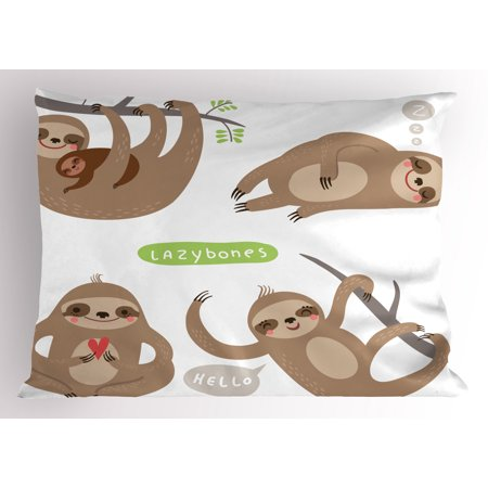 Sloth Pillow Sham Childish Collection of Funny Cute Lazy Sloths Hugging Family Romance Love, Decorative Standard Size Printed Pillowcase, 26 X 20 Inches, Pale Brown Grey Green, by Ambesonne