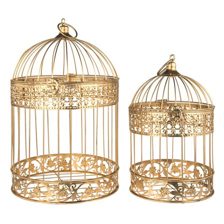 Gold Metal Wedding Bird Cage Centerpiece, Large, 2-Piece - Wood Slices For Wedding Centerpieces