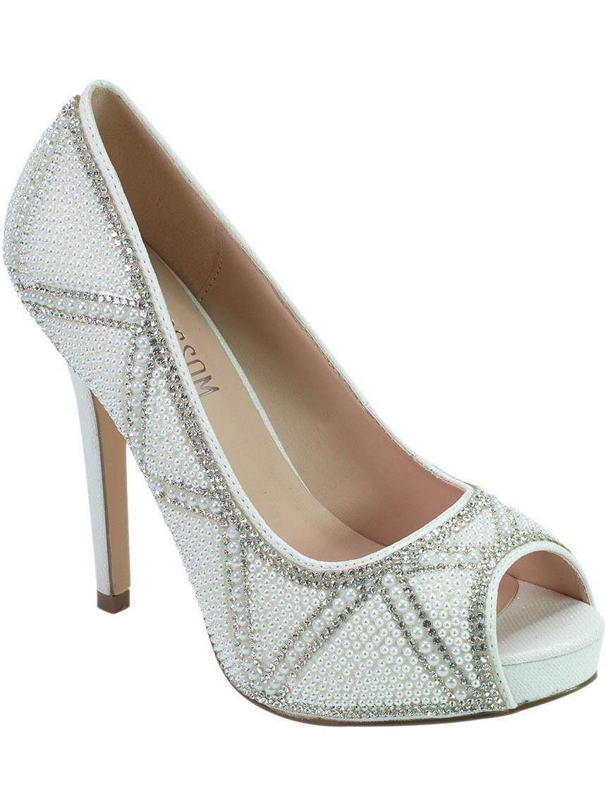 a4aff50ea De Blossom - De Blossom Bridal Adult White Pearl Rhinestone Peep Toe Pumps  - Walmart.com