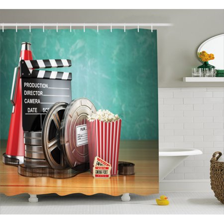 Movie Theater Shower Curtain, Production Theme 3D Film Reels Clapperboard Tickets Popcorn and Megaphone, Fabric Bathroom Set with Hooks, Multicolor, by - Movie Director Megaphone