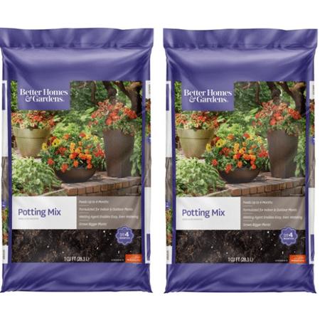 Better Homes & Gardens Potting Mix Planter Soil, 1 Cubic Foot (2 Pack)