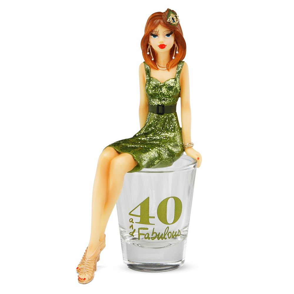 Hiccup by H2Z 73633 40 and Fabulous! Shot Glass with Birthday Girl Figurine