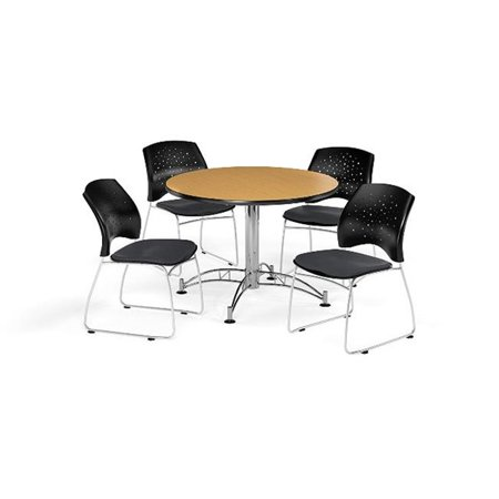 Ofm Pkg Brk 168 0060 Breakroom Package Featuring 42 In  Round Multi Purpose Table With Four Stars Stack Chairs