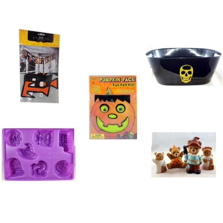 Halloween Fun Gift Bundle [5 Piece] - Trick or Treat Banner 42.5 x 5 Inches - Black With Skeleton Oval Party Tub - Darice Pumpkin Face Fun Felt Kit - Frankenstein - Happy  Jell-O Mold - Homco  Set N