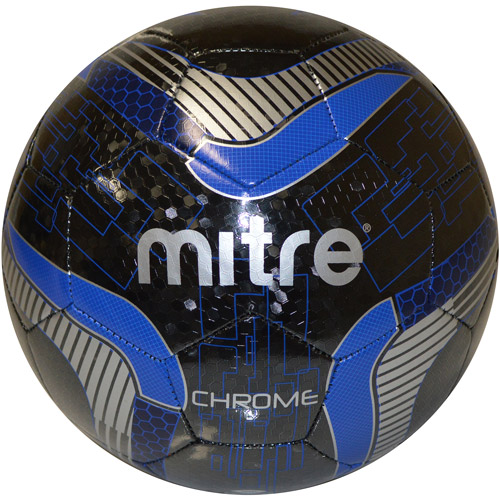 Mitre Chrome Matrix Soccerball, Size 3, Black with Blue Accents