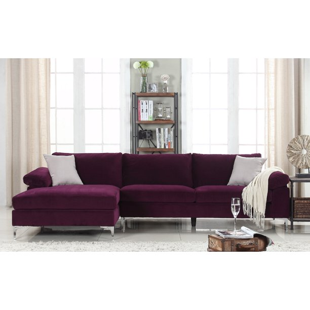 Mobilis Modern Large Microfiber Velvet Fabric L-Shape Sectional Sofa with Extra Wide Chaise Lounge, Purple