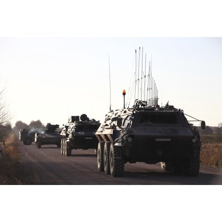 - A convoy of German Army TPz Fuchs armored personnel carriers Canvas Art - Timm ZiegenthalerStocktrek Images (18 x 12)