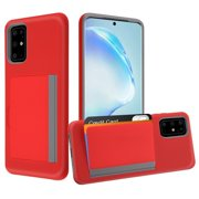 """Samsung Galaxy S20 PLUS (6.7"""") Wallet Phone Case Protective Cover with 3 Cedit Cards ID Holder Slots [Slim] Heavy Duty Shockproof Hybrid Rubber Hard PC + TPU Armor RED Cover for Samsung Galaxy S20+"""