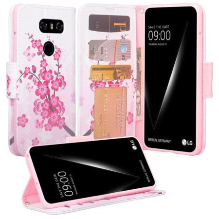 SOGA [Pocketbook Series] PU Leather Magnetic Folio Flip Kickstand Design Wallet Case for LG V30 / V30 Plus - Pink flowers