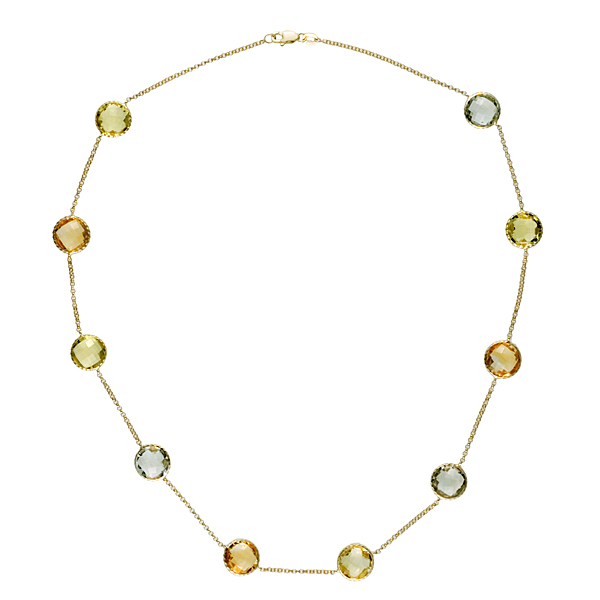 "14k Yellow Gold Green Amethyst Lemon Quartz Citrine Gemstones Chain Necklace 34"" by"