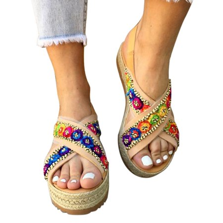 Women Multicoloured Sandals Espadrille Ankle Strappy Peep Toe Shoes